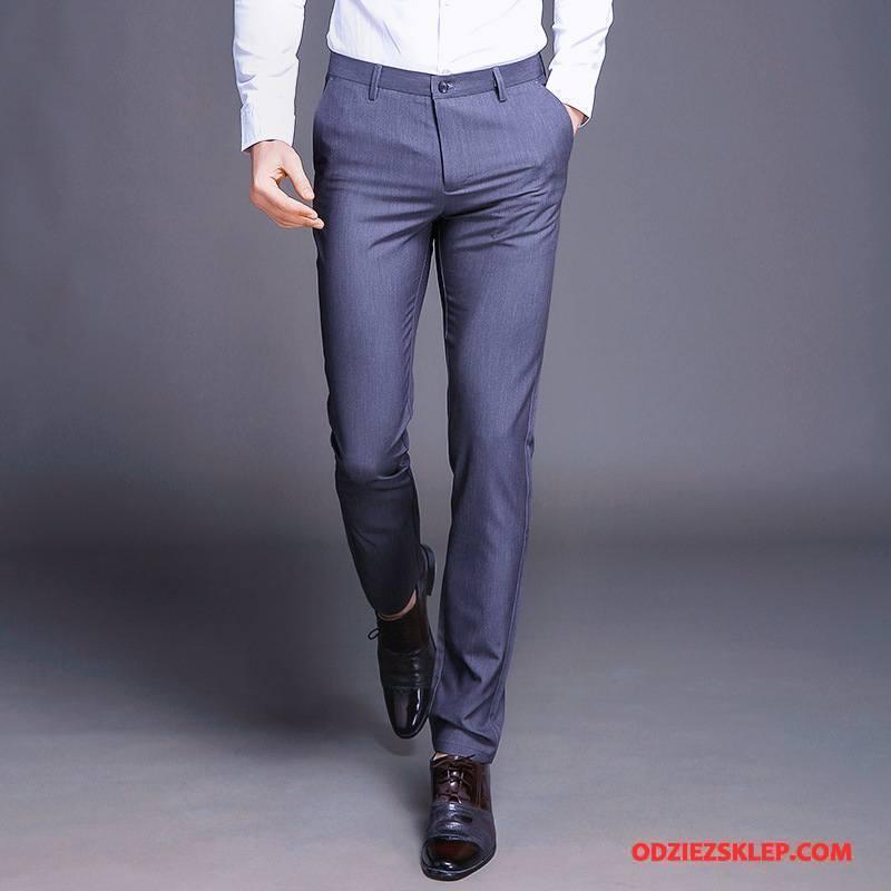 Męskie Spodnie Garniturowe Wygodne Biznes Męska Slim Fit Zima Casualowe Spodnie Niebieski Dyskont