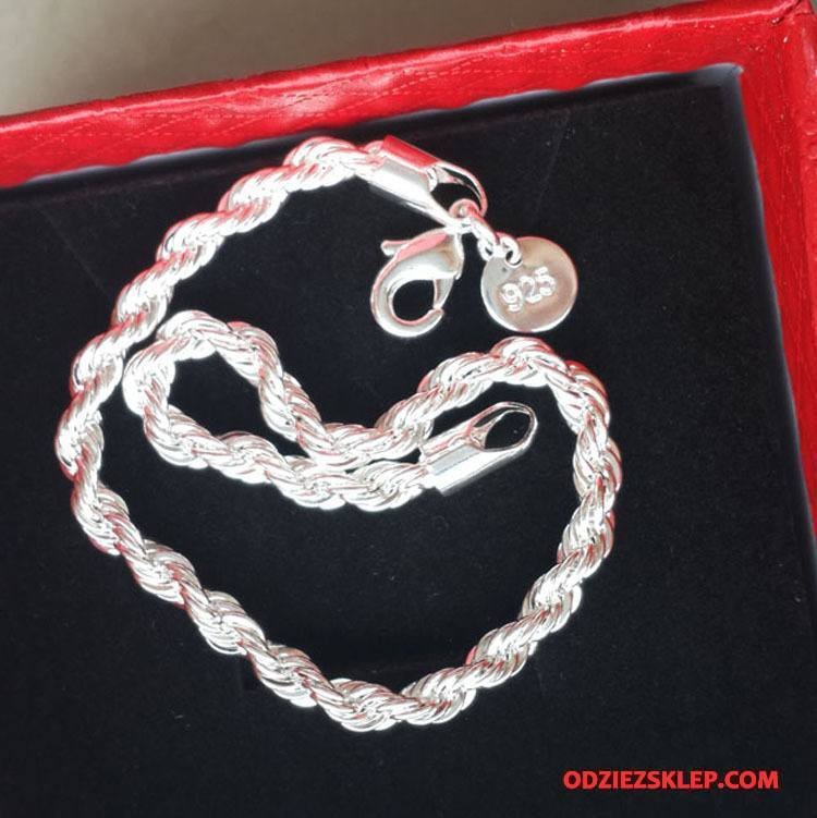 Męskie Srebrna Biżuteria Moda Akcesoria Bransoletki Męska Prosty Srebrny Online