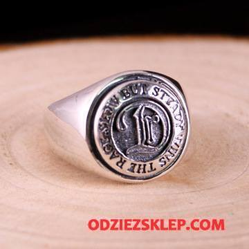 Męskie Srebrna Biżuteria Okrągła Akcesoria Damska Zakochani Vintage Alfabet Srebrny Tanie