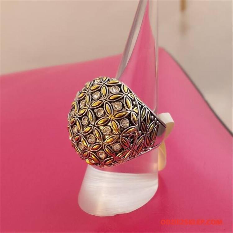 Męskie Srebrna Biżuteria Osobowość Vintage Trendy Męska Z Kryształkami Bicolored Złoty Srebrny Sprzedam