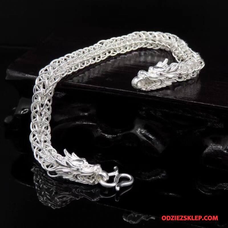 Męskie Srebrna Biżuteria Vintage Bransoletki Smok Osobowość Męska Pure Srebrny Tanie