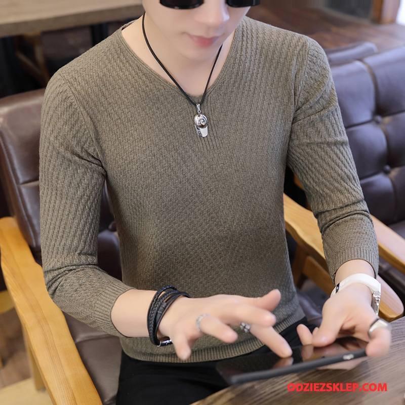 Męskie Swetry Jesień Męska Sweter Długi Rękaw Młodzież Zima Zielony Na Sprzedaż