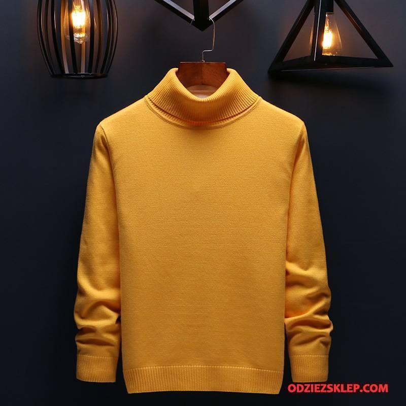 Męskie Swetry Jesień Wysoki Student Moda Sweter Męska Żółty Tanie