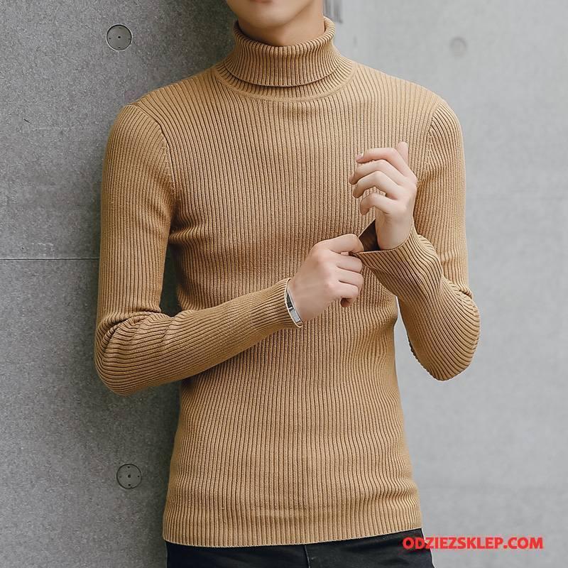 Męskie Swetry Męska Gorąca Sprzedaż Długi Rękaw Podkoszulek Ciepłe Sweter Khaki Czysta Kup