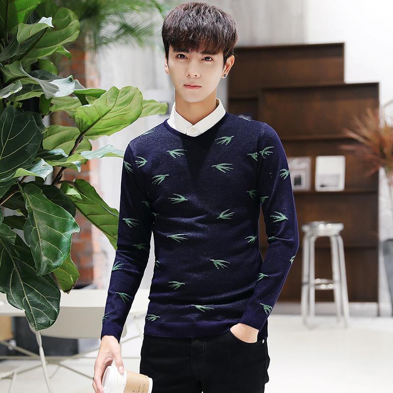 Męskie Swetry Męska Tendencja Piękny Osobowość Sweter Slim Fit Ciemno Niebieski Online