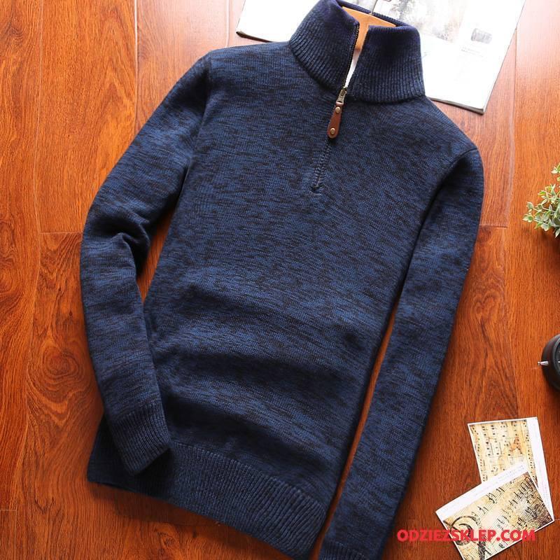 Męskie Swetry Nowy Slim Fit Zamek Topy Wysoki Długi Rękaw Ciemno Niebieski Tanie