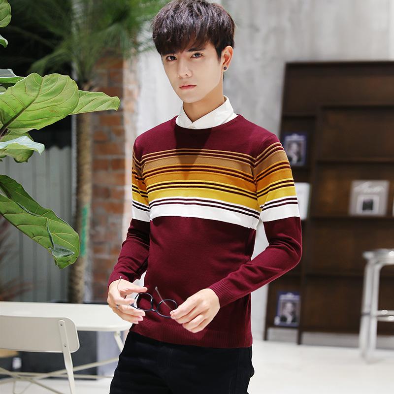 Męskie Swetry Nowy Tendencja Długi Rękaw Topy Slim Fit 2018 Czerwony Sklep