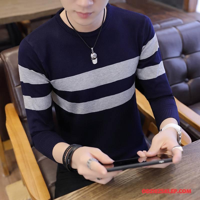 Męskie Swetry Piękny Pullover Okrągły Dekolt Tendencja Sweter Jesień Granatowy Kup