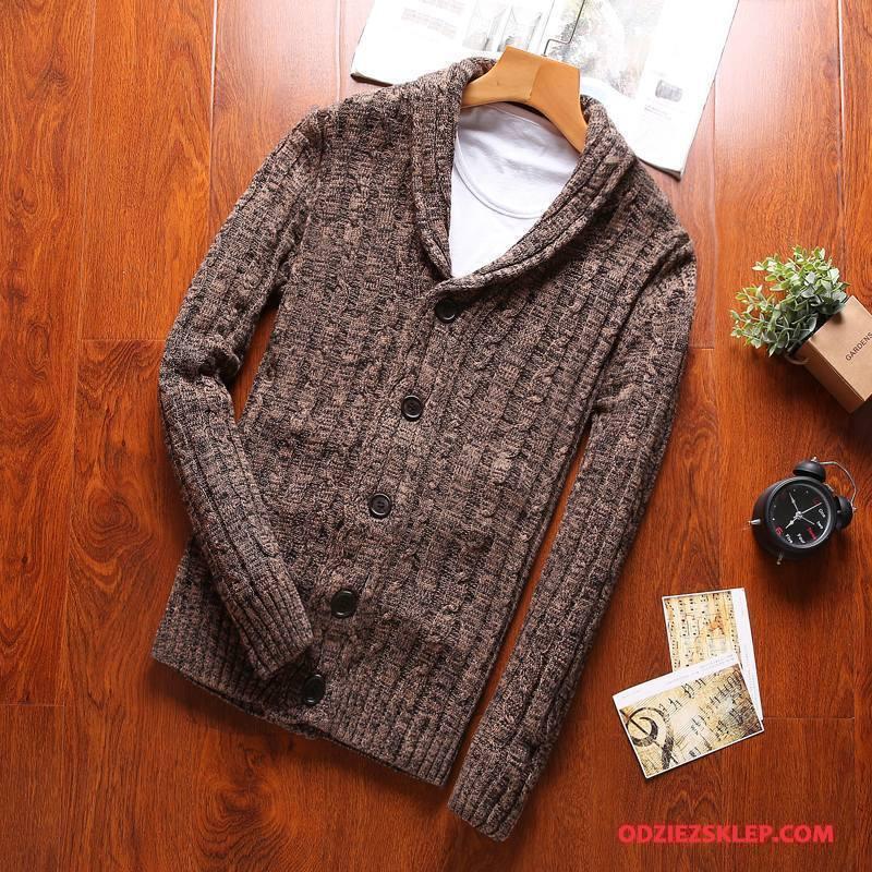 Męskie Swetry Sweter Rozpinany Duży Rozmiar Długi Rękaw Bawełna Męska Slim Fit Kawowy Kup