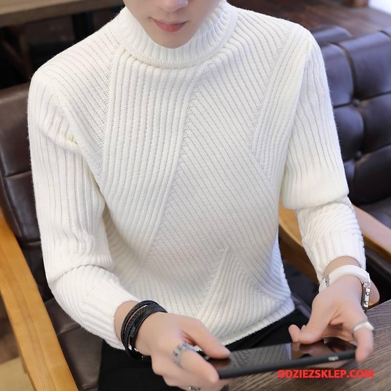 Męskie Swetry Tendencja Sweter Męska Płaszcz Podkoszulek Slim Fit Biały Tanie